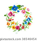 Hand drawn watercolor wreath of flowers and leaves 36546454