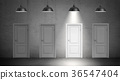 3d rendering of a four industrial lamps hang above 36547404