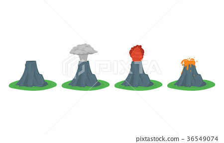 Cartoon Color Volcano Erupting Set. Vector 36549074