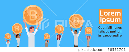 Group Of People Holding Golden Bitcoin Modern Web 36551701
