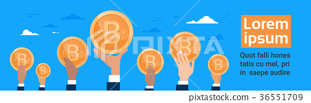 Group Of Hands Holding Bitcoin Crypto Currency 36551709