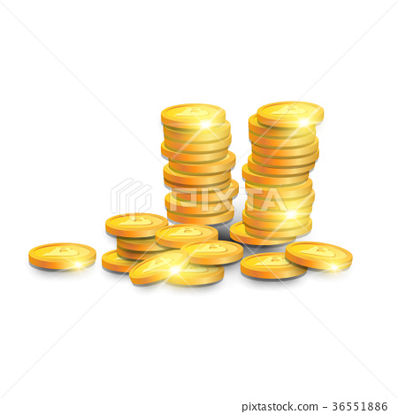 Stack Of Golden Bitcoins Isometric Design Modern 36551886