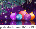Christmas Background with Fir and Balls 36555393