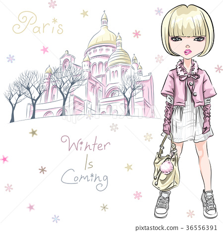 Vector fashion girl in winter clothes in Paris 36556391