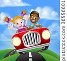 Cartoon Characters Driving Car 36556601