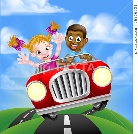 Cartoon Characters Driving Car 36556601