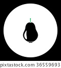 pear fruit simple black and green icon eps10 36559693