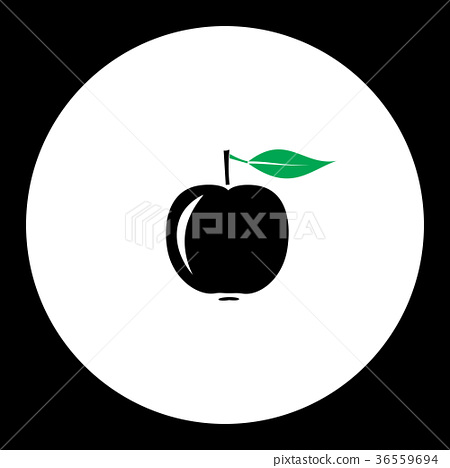 apple fruit simple black and green icon eps10 36559694