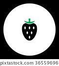 strawberry fruit simple black and green icon  36559696