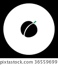 apricot fruit simple black and green icon eps10 36559699