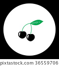 cherries fruit simple black and green icon eps10 36559706