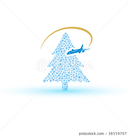 christmas tree from snowflake with airplane eps10 36559707