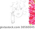 여성과 붉은 꽃의 풍경 36560045