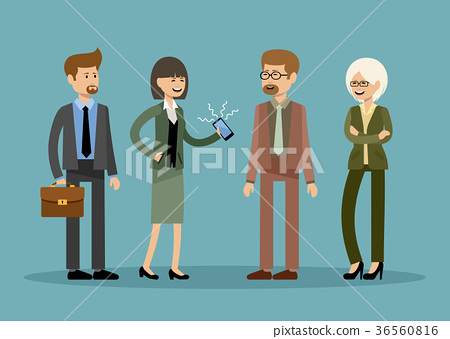 Smiling business people, office workers 36560816