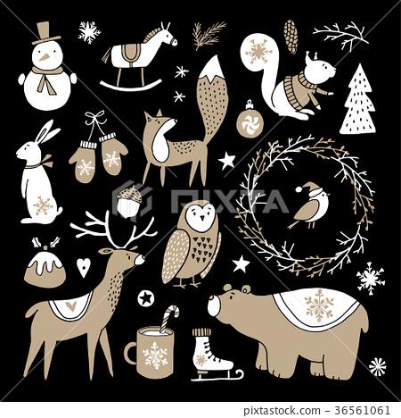 Set of cute doodle sketches. Christmas clip-arts 36561061