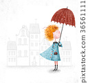Cute red-head girl with umbrella in blue coat  36561111