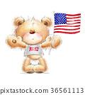 Cute Teddy bear with the  USA flag. 36561113