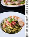 Italian Penne Pasta Pesto Sauce, shrimps tomato 36561305