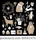 Set of cute doodle sketches. Christmas clip-arts 36561474