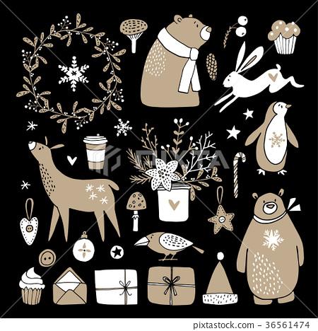 Set of cute doodle sketches. Christmas clip-arts 36561474