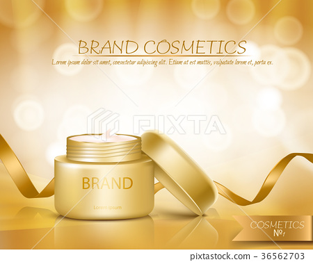 Gold jar with open lid is full of cosmetic cream 36562703