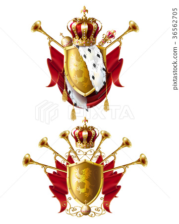 Royal golden crowns, fanfares, scepter and orb 36562705
