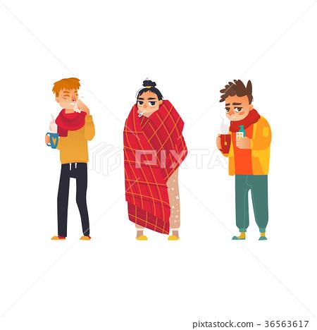 vector flat sick people set 36563617