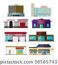 Different shops, buildings and stores flat icon 36565743