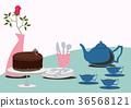 초콜릿 케이크. 테이블 세트. 초콜릿과 찻 주전자. 36568121