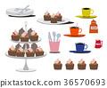 케이크 세트. 초콜릿 케이크의 소재. 초콜릿 케이크 세트. 36570693