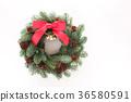 전나무의 수제 임대 (가로 정면 빨간 리본 및 벨과 솔방울) 36580591