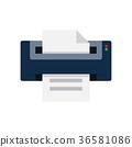 printer, icon, flat 36581086