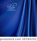 Brightly lit blue curtain background. Blue silk 36584202