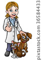 Vet Cartoon Character with Pet Cat and Dog 36584433