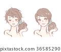 受損的頭髮和美麗的頭髮 36585290