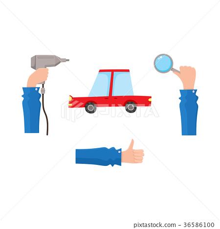 vector flat car service, maintenance icons set 36586100