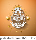 Vector Merry Christmas Illustration with Gold 36586312