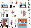 Vet clinic set, veterinary doctors examining dogs 36586332