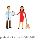 Brunette woman at the veterinary doctor with her 36586348