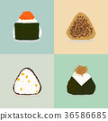 Rice balls. Japanese cuisine. Four onigiri types. 36586685