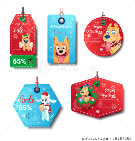 Set Of New Year Sale Tags Decorated With Dogs On 36587669