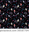 Watercolor seamless pattern with branches, birds 36587704