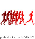 馬拉松賽跑 運動員 剪影 36587821
