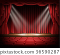 stage, red, curtain 36590287