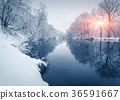 forest, snow, river 36591667
