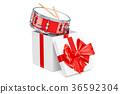 Drum inside gift box, gift concept. 3D rendering 36592304