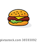 hamburger with cheese and lettuce 36593092