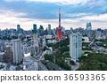 도쿄 타워와 도시 풍경 36593365