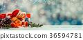 Christmas decoration on snow with Teddy bear 36594781