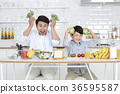 Young father with son preparing dishes, and dish washing together. 339 36595587